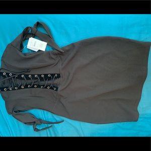 Black off the shoulder mini dress